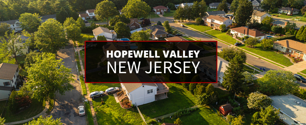 An aerial shot of the suburban areas in Hopewell Valley in New Jersey.