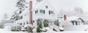 Winter Home Covered in Snow