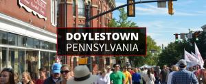 A shot of people walking on the street in downtown Doylestown, Pennsylvania